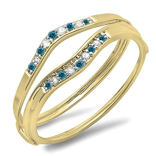 0.12 Carat (ctw) 10K Yellow Gold Blue & White Diamond Anniversary Enhancer Guard Wedding Band (Size 9). Other ring sizes may be shipped sooner. Most rings can be resized. Items is smaller than what appears in photo. Photo enlarged to show detail. Satisfaction Guaranteed. Return or exchange any order within 30 days. All our diamonds are conflict free. Gemstone : Diamond.