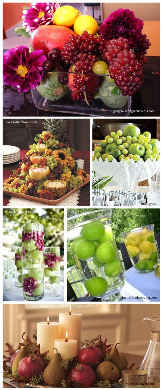 Ideas for using fresh fruit in wedding centerpieces http