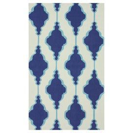 Hand-hooked wool rug with geometric motif.  Product: RugConstruction Material: 100% WoolColor: BlueFeatures: Hand-hookedNote: Please be aware that actual colors may vary from those shown on your screen. Accent rugs may also not show the entire pattern that the corresponding area rugs have.Cleaning and Care: Spot treat with mild detergent and water. Professional cleaning is recommended if necessary.
