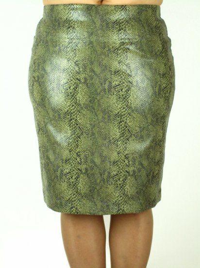 Sukňa pod kolená des. hadia koža/ olivová zelená