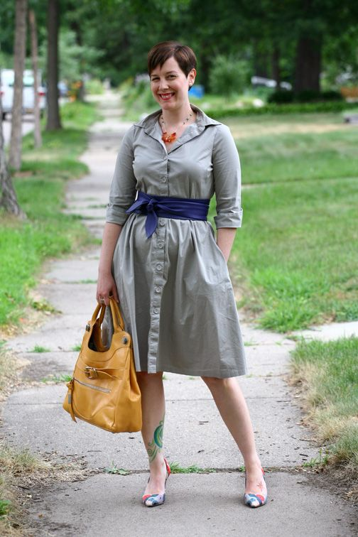 Already Pretty outfit featuring gray shirtdress, blue leather wrap belt, Foley + Corinna Jet Set, Faryl Robin Suzu kimono silk pumps, agate flower necklace
