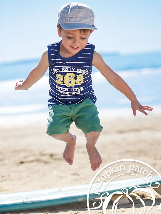 pin stripe sleeveless tee with Patch basic jean shorts.    Pumpkin Patch Summer fashion collection for little boy