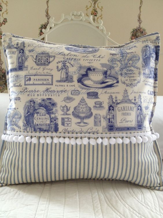 Shabby Chic Blue Pillows : French Country Pillow Cover, Shabby Chic Pillow Cover, Paris Blue Toile Pillow Cover, Blue ...