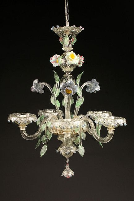 Custom Murano glass 5 arm Italian chandelier with flowers and leaf motif. #antique #chandelier #glass