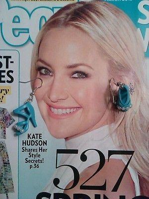 Pearl Enhanced Blue Barbie Shoe Earrings OOAK