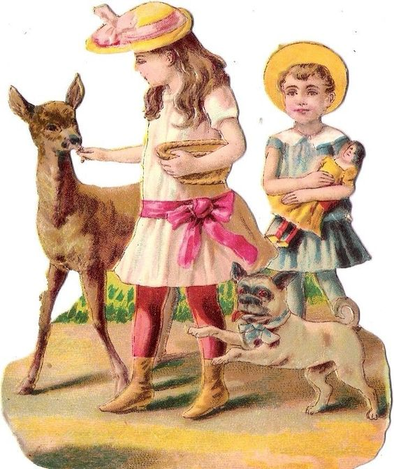 Oblaten Glanzbild scrap diecut chromo Kind child Reh deer Kind girl Puppe Hund: