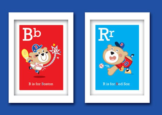 "Red Sox ABC prints (8"" W x 10""H) - Set of 2 Unframed - Customization available on Etsy, $30.00"