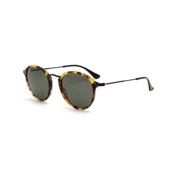 Ray-Ban RB2447 1157 Round Fleck Tortoise/ Frame Green Classic Lenses 49-millimeter Sunglasses