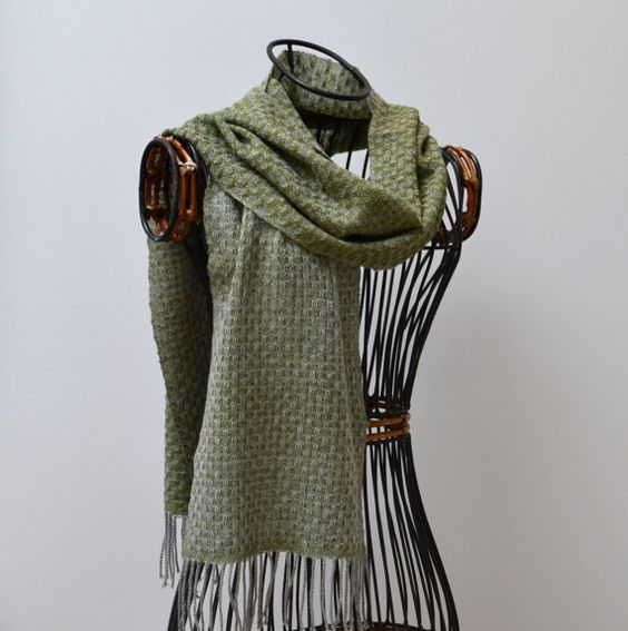 Handwoven cashmere scarf  dark lime by MadeleineJude on Etsy, £110.00