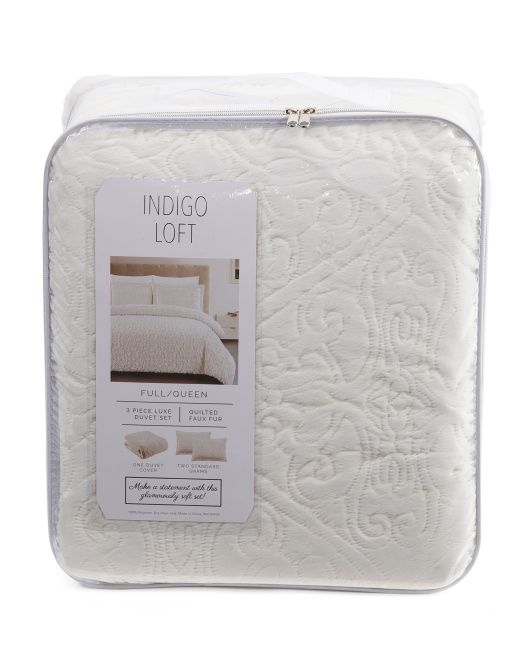 Indigo Loft Sculpted Faux Rabbit Fur Duvet Set Color Winter White Full Queen 59 99 Tj Maxx Duvet Sets Duvet Faux