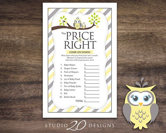 Instant Download Yellow Owl Price Is Right Baby by Studio20Designs