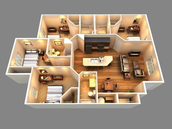 Floors floor plans and bedrooms on pinterest for 2 bedroom house plans 3d