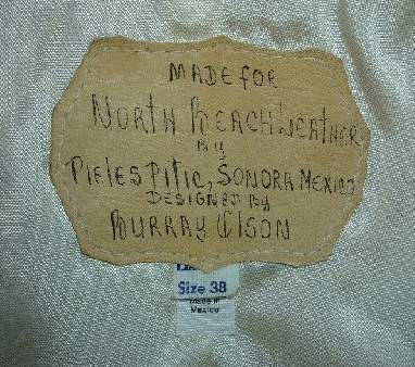 Norht Beach leather label, hand written