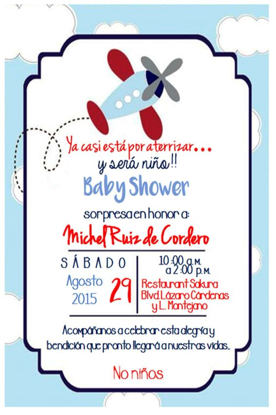 Baby shower invitacion aviones baby shower pinterest - Organizar baby shower nino ...