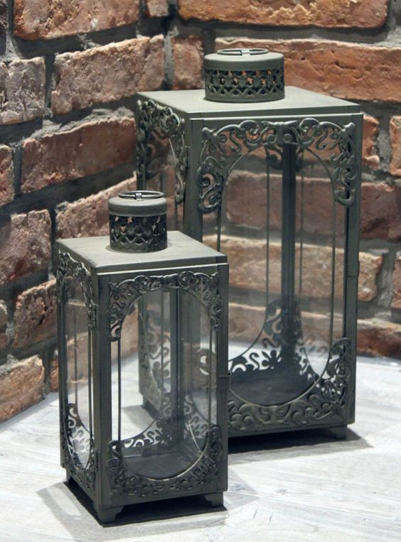 details zu franz sische glas windlicht shabby chic vintage style laterne aus metall vintage. Black Bedroom Furniture Sets. Home Design Ideas