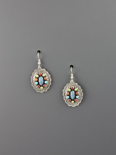 Oval Denim Lapis Earrings