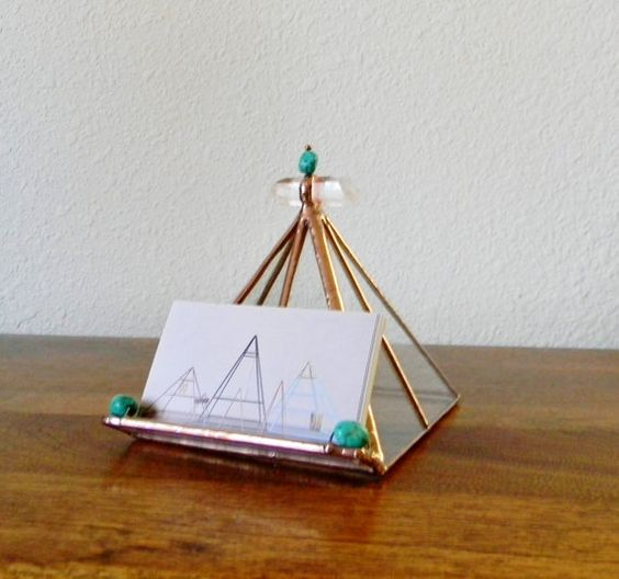 Clear Stained Glass Pyramid Business Card Holder in Copper With Quartz Cystal and Turquoise- Made To Order