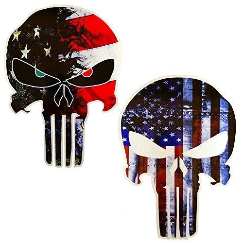 Jumpyfire American Flag Punisher Skull Shaped Stars And Stripes Us Flag Car Stickers 5 9 X 4 3inch Vinyl Decals For Car Vinyl Decals Car Stickers Car Decals