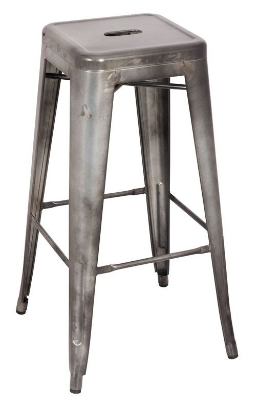 Acme 96251 Set Of 2 Kiara Antique Silver Finish Metal Barstool