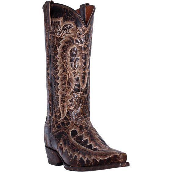Dan Post Mens Brown Leather Atticus Allison Stitch 13in Cowboy Boots
