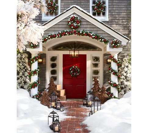 Outdoor Ornament Pine Garland - Red/Silver | Pottery Barn: