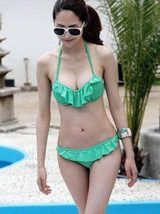 Green Halter Ruffles Lycra Spandex Women's Bikini Swimwear    Super Cute! and all the swimsuits on this site are super cheap!