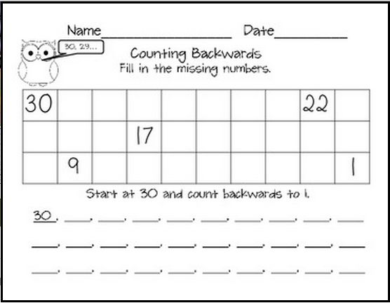 Count Down: Practice Counting Backward #1 | Free printables, Count ...