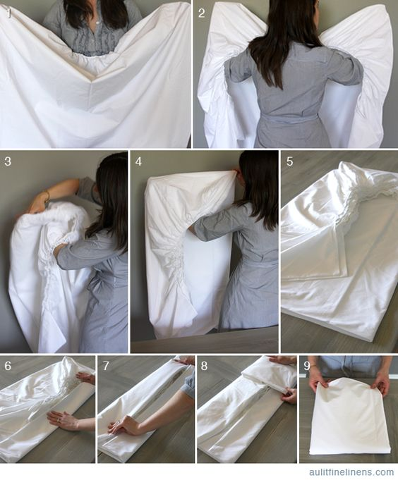 Au Lit Fine Linens — How to fold a fitted sheet.: