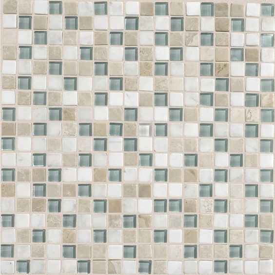 Daltile Stone Radiance Whisper Green 12 in. x 12 in. x 8 mm Glass and Stone Mosaic Blend Wall Tile-SA515858MS1P - The Home Depot