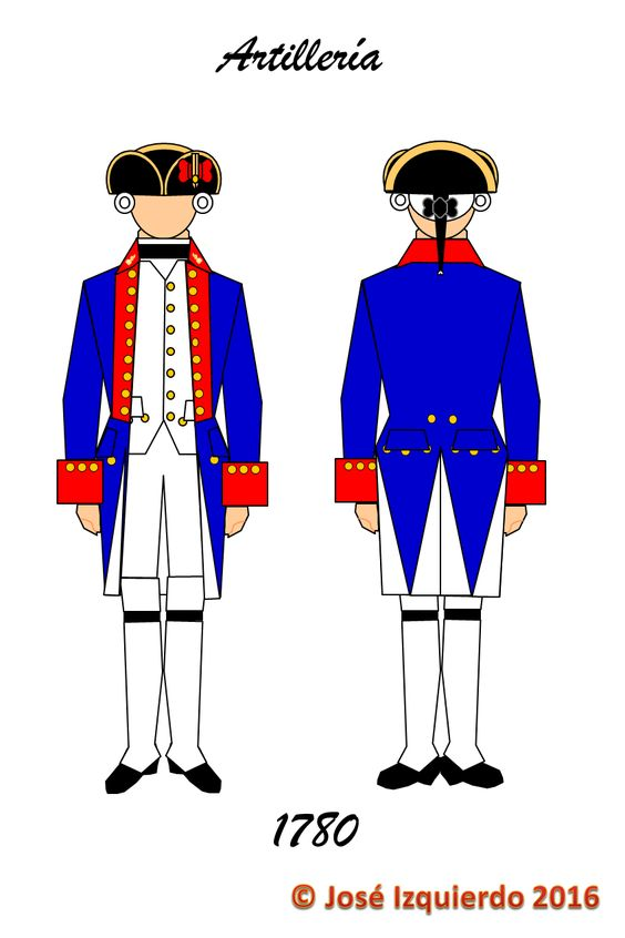 Real Cuerpo de Artillería, 1780