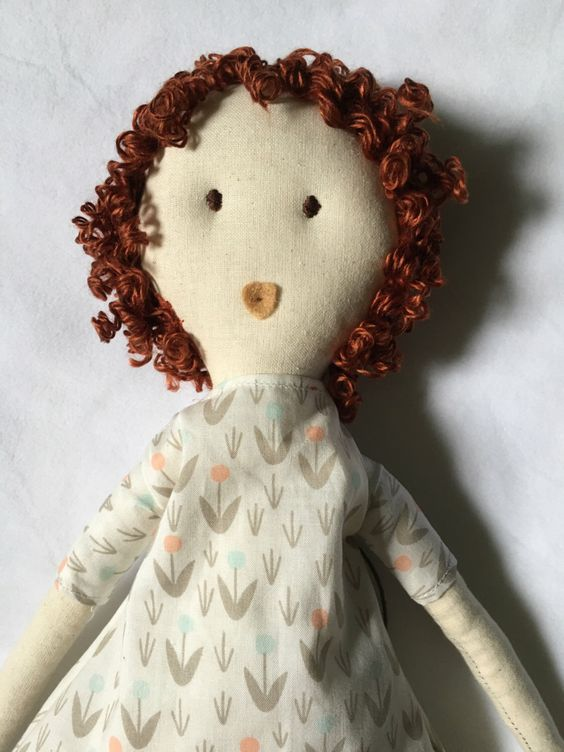 "Millie, 18"" fabric doll with curly hair, red haired rag doll, cloth doll, Grey, pink, blue, and white dress by FoxandSnail on Etsy https://www.etsy.com/listing/466261151/millie-18-fabric-doll-with-curly-hair"