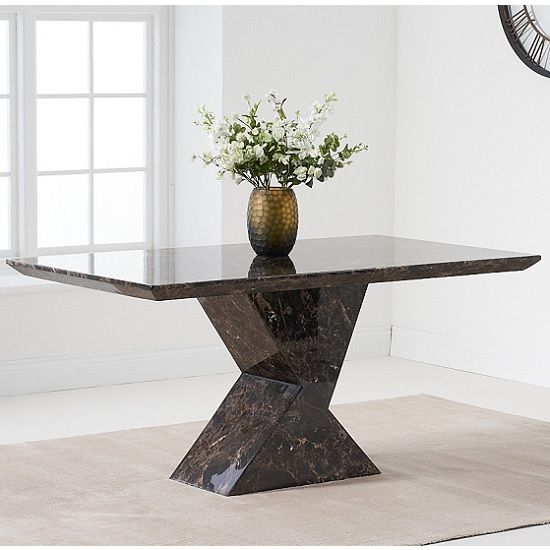 Senna Marble Dining Table Rectangular In Brown And High Gloss Dining Table Marble Dining Table Marble Dining