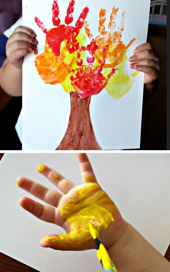 Kids Handprint Fall Tree Craft | 22 Easy Fall Crafts for Kids to Make | DIY Fall Crafts for Kids with Leaves