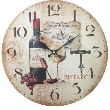 Wine Design Wall Clock, Multicolor