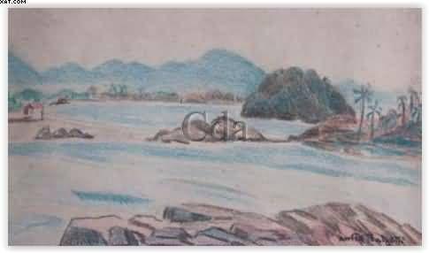 Título :Praia de Itanhaém Artista :Annita Catarina Malfatti - Anita Malfatti - Anita Malfati Técnica :Lápis de cor sobre papel Dim. :12 x 20 cm