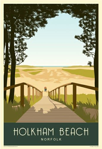 Holkham Beach Boardwalk. Poster available from £12 www.whiteonesugar.co.uk