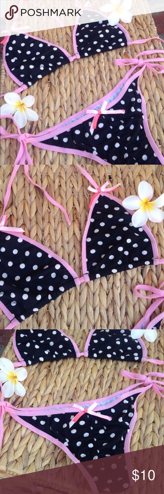 Polka Dot Triangle String Bikini Black/Pink Bows M Darling Pink/Black/White W/ Ties & Bows Polka Dot Bikini/ Stand Out Color Scheme.... New In Bag. Swim Bikinis