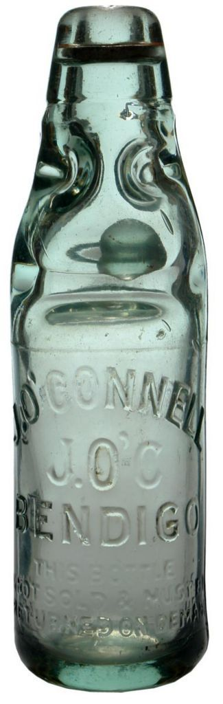 J O'Connell Bendigo. Dobson or Four way pour Codd marble bottle. c1920s. sideways embossing.
