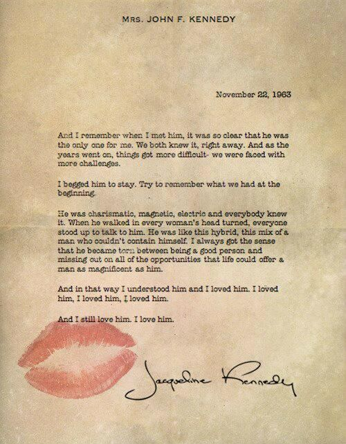 JACKIE KENNEDYS LOVE LETTER TO JFK Letter Written By