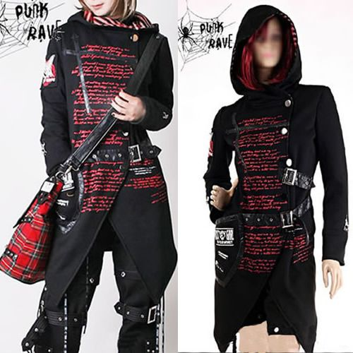 Mens Womens Emo Punk Rock Gothic Clothes Hooded Trench ...