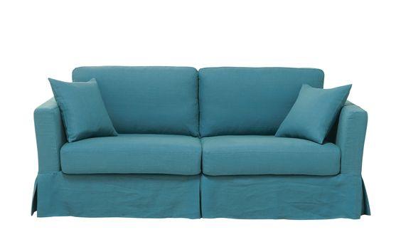 Ausziehbares 3-Sitzer-Sofa aus Leinen, entenblau  Royan Maison du monde