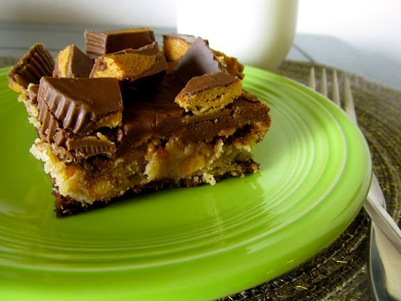 Reese's Cheesecake Brownie Bars (via Mix and Match Mama)