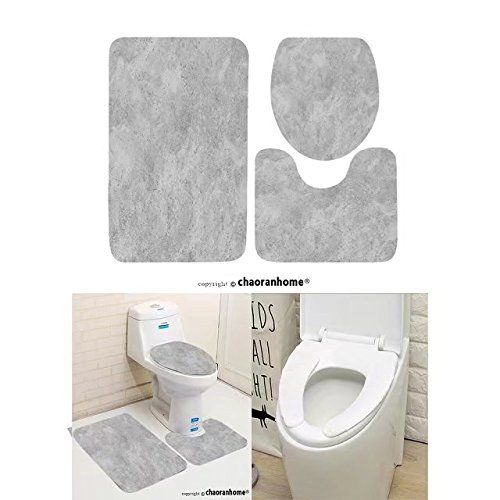Chaoranhome Pattern Bath Mat Set 3 Piece Bathroom Mats Concrete
