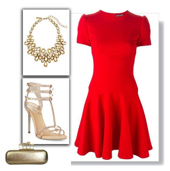 """""""Outfit # 2398"""" by voltinimiriam ❤ liked on Polyvore featuring moda, Alexander McQueen, René Caovilla i Oscar de la Renta"""