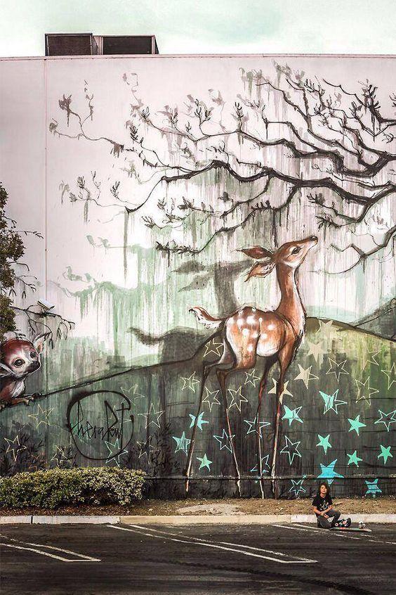 Herakot #streetart Check out their website: http://www.herakut.de/walls/# Amazing!