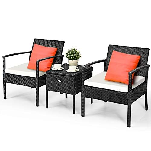 Tangkula 3 Piece Patio Conversation Set Outdoor Wicker Rattan Conversation Set With Storage Coffee Table Chairs Thick Cushions Backyard Porch Poolside Lawn M In 2020 Modern Outdoor Furniture Outdoor Furniture Sets