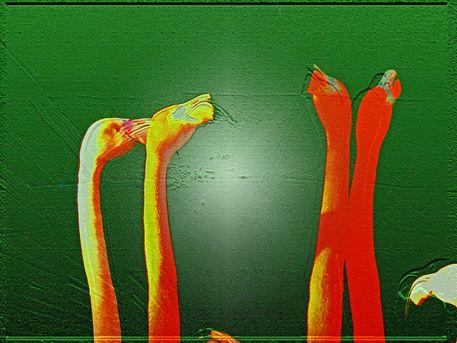 """'Stoffdesign """"orange auf grün 150""""' von Rudolf Büttner bei artflakes.com als Poster oder Kunstdruck $18.71"""