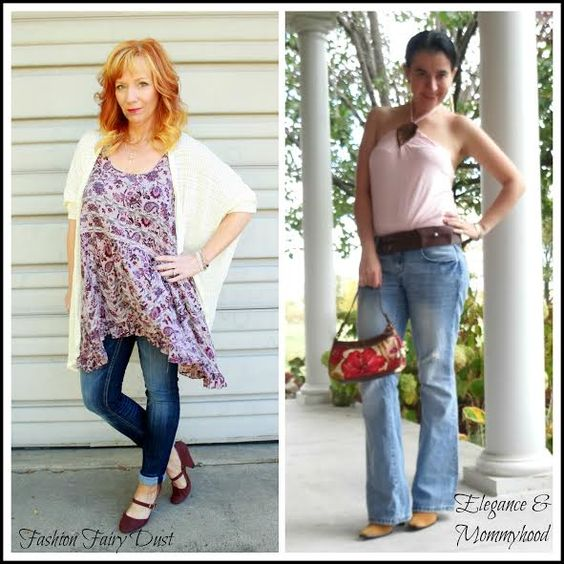 Elegance and Mommyhood.: Bohemian 70s Inspired Week: Denim Flares, Suede Jacket and Halter Tank.