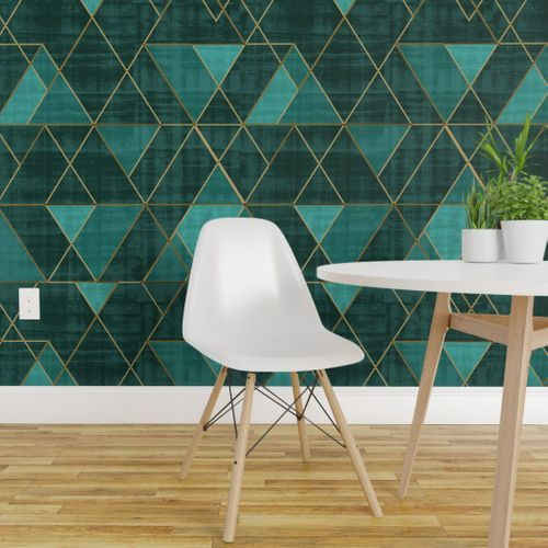 Mod Triangles Emerald Teal Spoonflower In 2021 Geometric Removable Wallpaper Removable Wallpaper Wallpaper Panels
