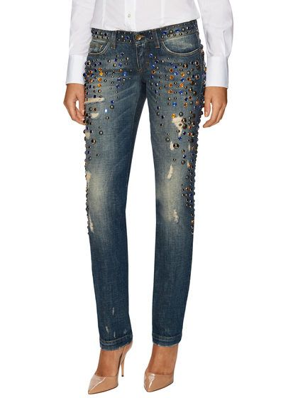 Distressed Studded Low-Rise Straight Jean by Dolce